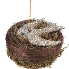 Nest with glass glitter bird ornament $10.95