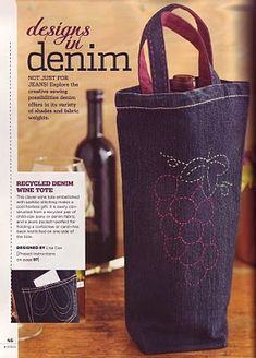 Recycled Denim Wine Tote sew, denim projects, craft, nyc bag, jeans, wine tote, children, recycled denim, recycl denim