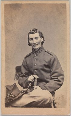 Frances Clayton is an exception—a woman who served in the Union army by disguising herself as a man. In a popular carte de visite collected by soldiers at the end of the war, she poses here as Jack Williams and suggestively holds the handle of a cavalry sword between her crossed legs. The facts of her life story and military service are difficult to confirm, but it is believed that she served in the Missouri cavalry (or infantry) beside her husband, who died at the Battle of Stones River in 1862