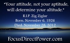"""Motivational speaker Zig Ziglar died today at age 86. Below are a few more quotes from him that have the power to completely change the direction of one's life.    http://ow.ly/fEHWo      """"Remember that failure is an event, not a person.""""    """"You will get all you want in life, if you help enough other people get what they want.""""    """"People don't buy for logical reasons. They buy for emotional reasons."""""""