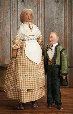 """Theriault's - American Cloth Folk Dolls, 19"""", 14"""""""