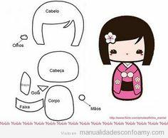 Plantilla para hacer una Kokeshi Doll o muñeca japonesa en goma eva