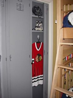 Lockers painted onto closet doors