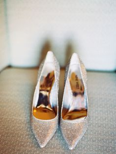 glittery heels, photo by Lavender & Twine http://ruffledblog.com/santa-barbara-courthouse-wedding #weddingshoes #shoes