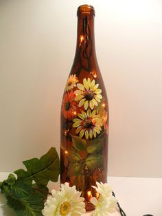 painting flowers on wine bottles | Lighted Wine Bottle Amber Daisy Flowers Hand Painted Recycled 750ml ...