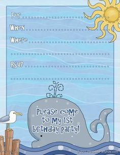 Free Printable 1st Birthday Invitations for Boys blue whale