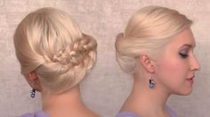 Romantic braided updo for everyday - summer hairstyle for medium long hair