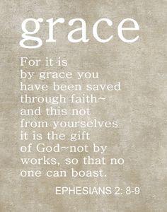Custom Typography, Christian Art Print, Christian Scripture, Ephesians 2:8-9, Christmas Gift, Grace, Bible Quotes.