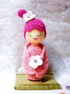 Sakura Crochet Amigurumi Kokeshi Doll