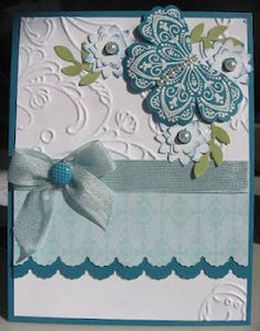 handmade card ...  Mixed Bunch flower used to make the butterfly ...cute idea .... Stampin' Up!
