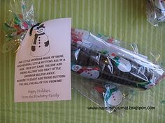 Snowman buttons (oreos). poem about a melted snowman make this a nice inexpensive gift.
