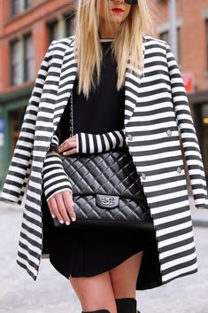 Black and white stripes + a classic quilted Chanel bag via @Blair R R Eadie // Atlantic Pacific