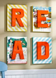Create this super cute DIY nursery book wall art this weekend!