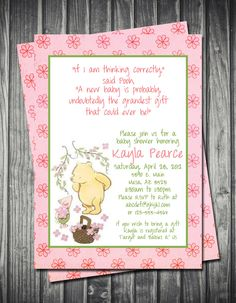 Classic Winnie the Pooh & Piglet Baby Shower Invitation