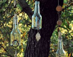 wines, bottl windchim, idea, soda bottles, christmas bells, glass, wind chimes, wine bottles, deck