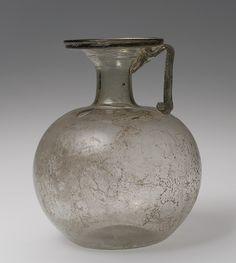 Pitcher, 3rd–4th century a.d., Roman, Blown glass
