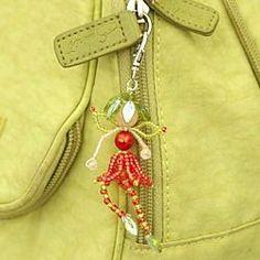 beads flowers, bead flowers, beaded charms, flower fairi, fairi bag, beaded flowers, bag charm, seed bead, beaded fairies