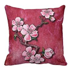 Unique, trendy, fashionable, decorative and pretty throw pillow. Beautiful Cherry blossom tattoo on vintage red pink grunge background. For the oriental art tattoo artist, the lover of flowers, nature, garden or gardening. Cool birthday gift or Christmas present for mom or the girly girl. Original and stylish pillow for the master or children's bedroom, college dorm, nursery, living or family room, log cabin, beach house, country cottage, vacation home or office.