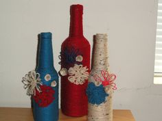 red white and blue decore, decorative bottles, decor bottles