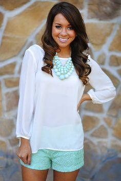 mint green, color, white shirts, blous, necklac, summer outfits, southern charm, summer clothes, lace shorts