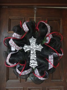 Zebra Print Cross Deco Mesh Wreath. cute cute