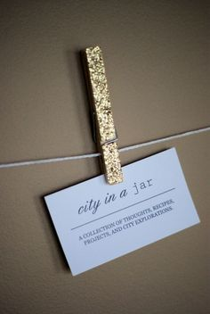 glitter clothespins for photo display.