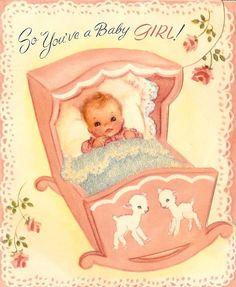 blanket, baby cards, babi vintag, baby girls, babi girl, babi card, scrapbook, kid, vintage cards