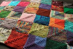 Rainbow Stashbuster Afghan: perfect for knitters who can't bring themselves to throw away yarn.