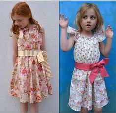 Peachy basic dress and dress with shoulder frills http://www.felicitysewingpatterns.com/product/new-spring-pattern-release-peachy-dress-playsuit-girls-dress-and-romper-sewing-pattern-6-sty