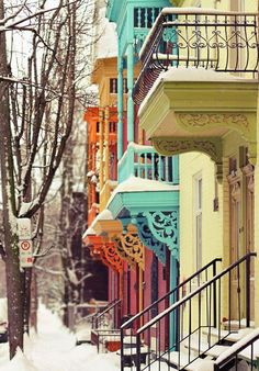 colourful winter houses