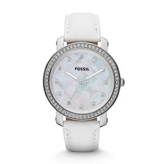 Fossil Emma Three Hand Leather Watch - White