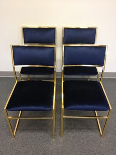Vintage Brass Chairs in Navy Velvet.