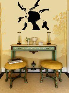 Graceful Girl Woman Face Silhouette Housewares Wall Vinyl Decal Art Modern Design Murals Interior Beauty Hair Spa Salon Decor Sticker SV3862