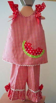 monogrammed childrens clothes | ... Gingham Ruffled 2 Piece Set - Monogrammed Childrens Clothing