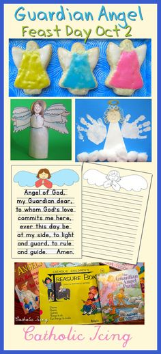 Round up of angel crafts, snacks, books, and more for celebrating the feast of the guardian angels. Save this link!