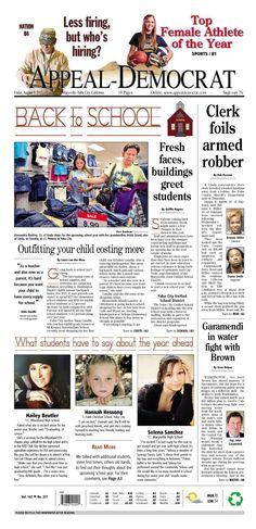 Appeal-Democrat front page for Friday, August 9, 2013.