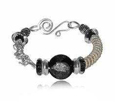 Enchantment Black Bangle-black Lampwork Bead, Sterling Silver,artisan Jewelry,tobeme,claire Derosa, Bangles, To Be Me Jewelry