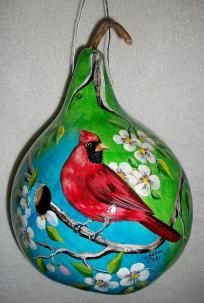 Gourd Birdhouse Cardinal and Spring Blossoms Hand Painted Gourd Birdhouse $45.00