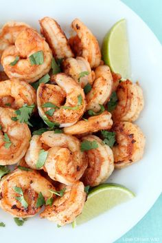 Spicy Cilantro Shrimp with Honey Lime Dipping Sauce - a flavorful, healthy meal you can have ready in under 10 minutes!