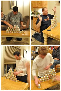 Minute to Win It Game - Stack Attack, players must stack 36 cups into a perfect triangle-shaped structure. Once that's completed, players must get the cups back into a single stack. First one to complete the stacking wins!