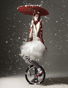 umbrellas, winter, clown, snow, black white