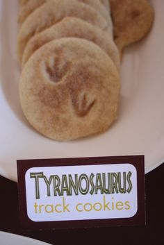 Cute dinosaur cookies - I was thinking of teaching Eliya about tracks by having our dinosaur toys walk in play-doh or mud outside, but this seems like a fun way to do the activity and have a snack :)