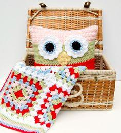 Matching Crochet Blanket and Owl Pillow. Crochet Blankets, Owl Pillows, Pillow Patterns, Color Combos, Match Crochet, Afghan, Crochet Owls, Hopscotch Lane, Granny Squares