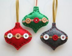 colorful felt ornaments with buttons