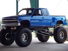 Jacked up Chevy step side truck #liftedtruck #chevytruck #4X4truck