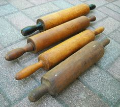 Antique Rolling Pin Collection Wood