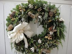 Holiday Wreath Made With Fresh Evergreen and by donnahubbard, $80.00