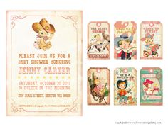 Digital PRINTABLE Vintage Baby Girl COWGIRL Cowboy Shower Pregnacy Tea Birthday Party Invitation Label Gift Favor Tag Card Sheet IN08