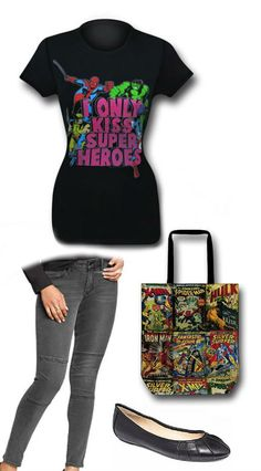 LADIES NIGHT OUT: Marvel outfit by Korri Burkert. Pants: http://oldnavy.gap.com/browse/product.do?cid=1018282&vid=1&pid=977407002 Bag: http://www.superherostuff.com/marvel-heroes-and-avengers/bags-and-backpacks/marvel-comic-covers-tote-bag.html?itemcd=bagmrvlcmctote&utm_source=pinterest&utm_medium=social&utm_campaign=featuredoutfit Shoes: http://www1.macys.com/shop/product/nine-west-blustery-pleated-flats?ID=923961