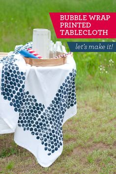 DIY Your Own Tablecloth: Print it with Bubble Wrap!!